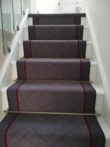 Axminster Carpets Poppy Field Geometric/Brintons Finepoint Rothko Red/Bell Twist Twilight Stair Runner