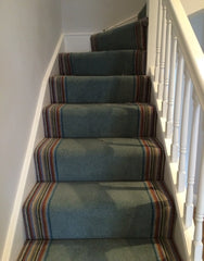Brintons Carpets Bell Twist Aquatint with Nordic Stripe border fitted stair carpet