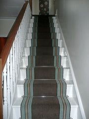 Brintons Carpets Bell Twist Moleskin & Stripes Collection Chocolate Fudge Border Stair Runner