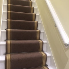 Brintons Carpets Bell Twist Mushroom and Stripes Collection Sherbet Limes Border Stair Runner