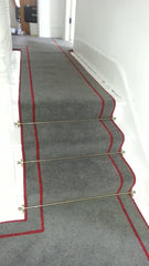Brintons Carpets Smoke & Manhattan Red Fully Fitted Stair Carpet