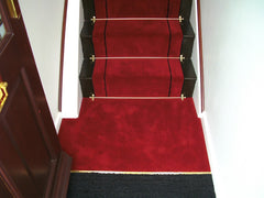 Brintons Carpets Majestic Chilli & Bell Twist Ebony Stripe Stair Runner