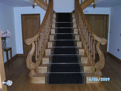 Brintons Carpets Marquis Intense Black Border & Intense Black Diamond Stair Runner & Fitted Landing