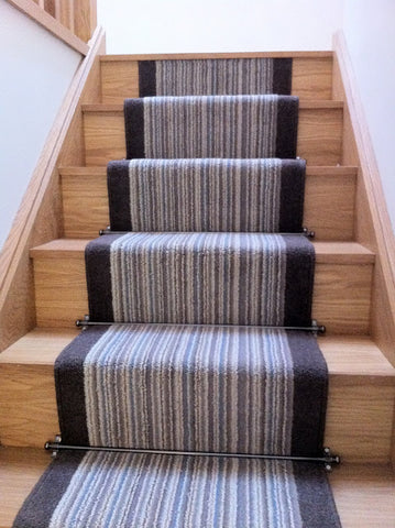 Contemporary striped stair runner designed with Brintons Carpets Pure Living Coastal Cord and Bell Twist Smoke Border