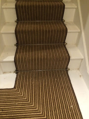 Brintons Carpets Stripes Collection Chocolate Limes Stair & Landing Runner