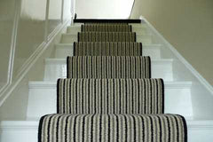 Brintons Carpets Stripes Collection Humbug & Ebony Stair Runner