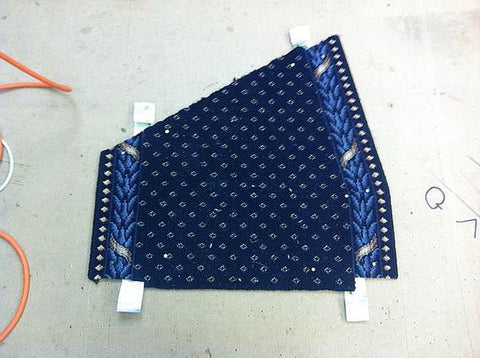 Completed carpet runner section made from the kite winder template