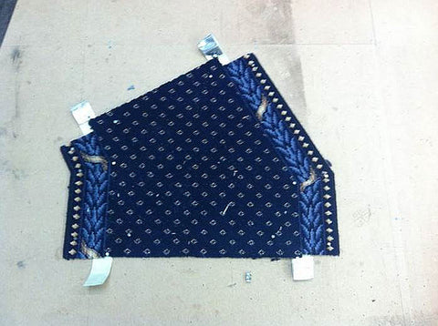 Completed carpet runner section made from the winder template
