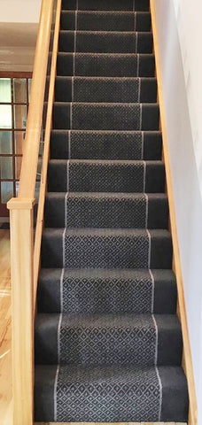 Brintons Carpets Regina Slate Trellis/Sea Salt Insert & Bell Twist Slate Border - Fully Fitted Stair Carpet (per M)