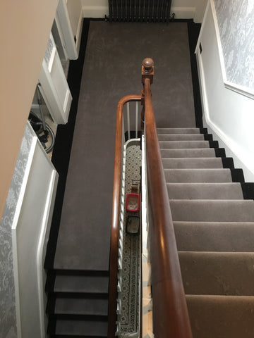 Ulster Carpets Ulster Velvet Elephant with Brintons True Velvet Jet Fully Fitted Stair Carpet (per M)