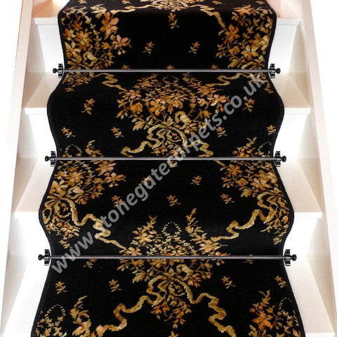 Axminster Carpets Black Bouquet Broadloom Stair Runner (per M)