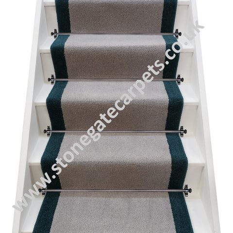 Axminster Carpets Devonia Plain French Grey & Moorland Twist Bowland Stair Runner (per M)