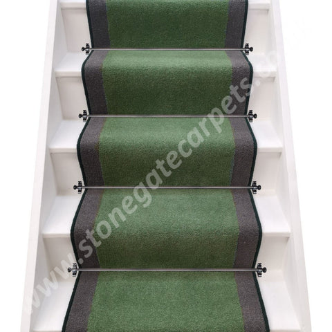 Axminster Carpets Devonia Plain Cottage Garden & Bell Twist Smoke Stair Runner (Per M)