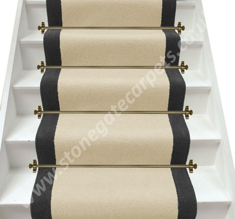 Axminster Carpets Devonia Plain Cream Tea & Discovery Grey Stair Runner (Per M)