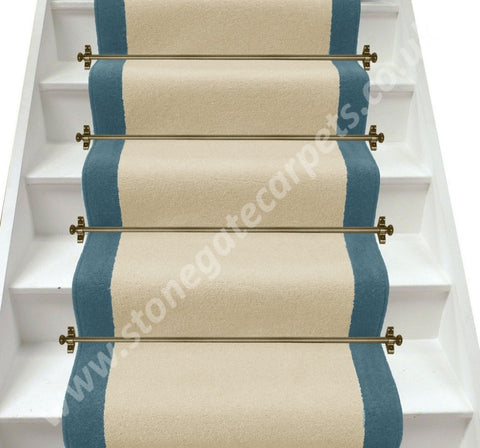 Axminster Carpets Devonia Plain Cream Tea & Dragon Fly Stair Runner (Per M)