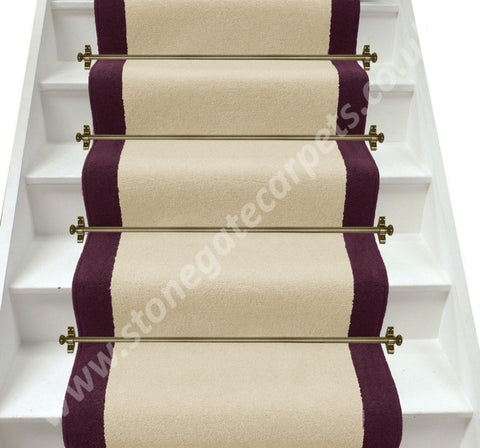 Axminster Carpets Devonia Plain Cream Tea & Hyacinth Stair Runner (Per M)