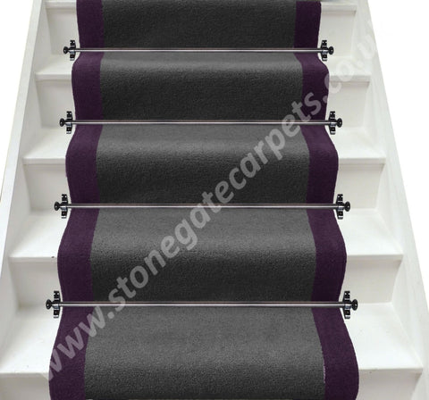 Axminster Carpets Devonia Plain Discovery Grey & Hyacinth Stair Runner (Per M)