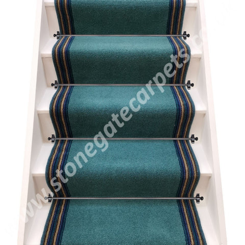 Axminster Carpets Devonia Plains Blue Grass & Navy Lime Train Stripe Stair Runner (per M)