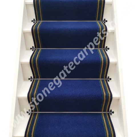 Axminster Carpets Devonia Plains Town Blue & Navy Lime Train Stripe Stair Runner (per M)