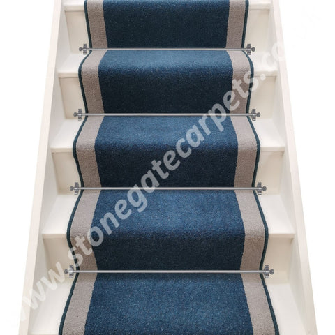 Axminster Carpets Moorland Twist Bilberry & Devonia Plains French Grey Stair Runner (per M)