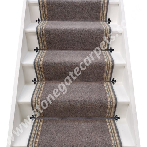 Axminster Carpets Moorland Twist Cobble & Pure Living Coastal Cord Stair Runner (per M)