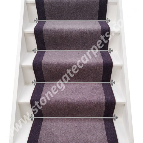 Axminster Carpets Moorland Twist Mountain Hare & Devonia Plains Hyacinth Stair Runner (per M)