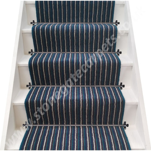 Axminster Carpets Train Stripe Navy & White Stair Runner (per M)