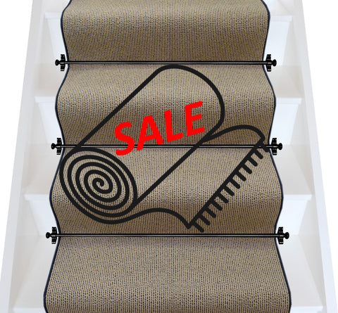 Axminster Carpets Simply Natural Ribgrass Stipple Straw Black Stair Runner (per M)