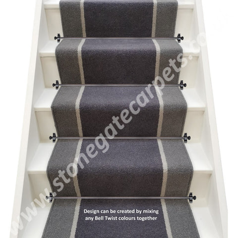 Brintons Bell Twist Twilight, Pumice & Flint Stair Runner (per M)