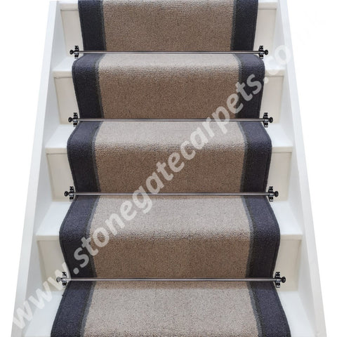 Brintons Bell Twist Chalk, Flint, Smoke & Twilight Stair Runner (per M)