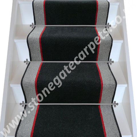 Brintons Carpets Bell Twist Ebony Manhattan Red Granite Stair Runner (per M)