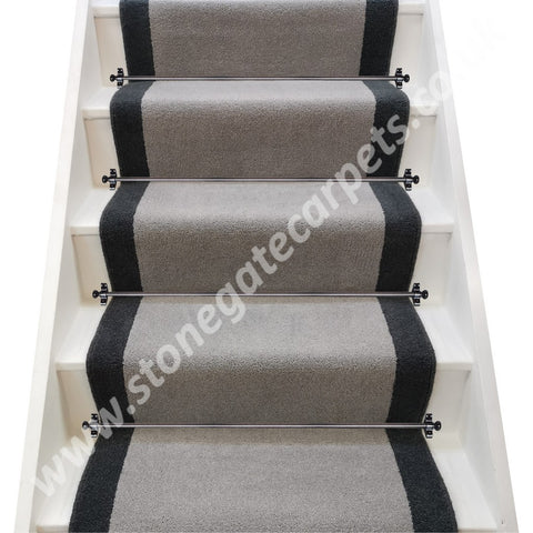 Brintons Carpets Bell Twist Laura Ashley Steel & Slate Stair Runner (per M)