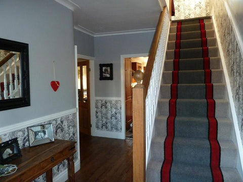 Brintons Carpets Bell Twist Pewter Manhattan Red Smoke Ebony Fully Fitted Stair Carpet (per M)