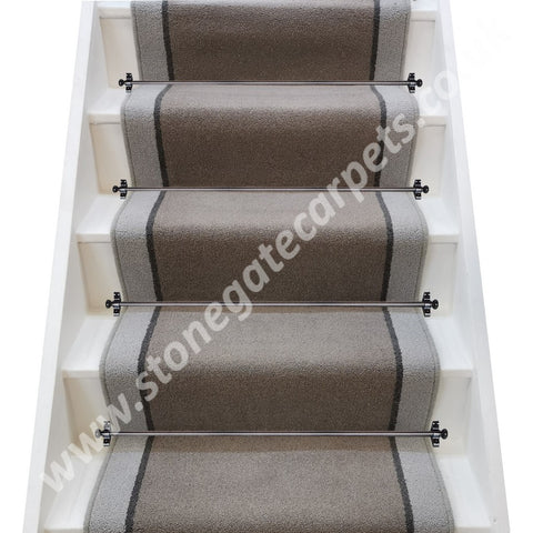 Brintons Carpets Bell Twist Pewter Smoke Pumice Stair Runner (per M)