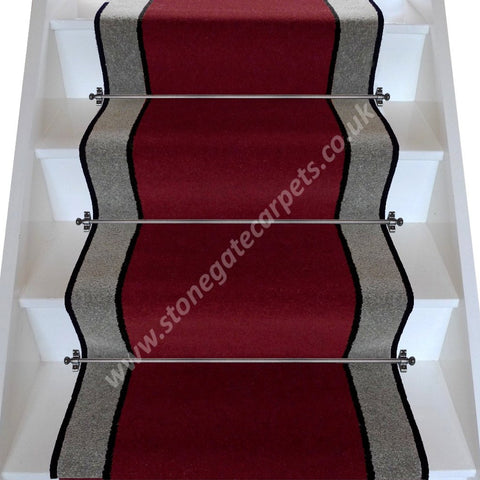 Brintons Carpets Bell Twist Ruby Ebony Pewter Stair Runner (per M)