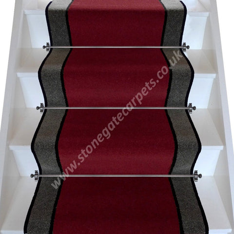 Brintons Carpets Bell Twist Ruby Ebony Smoke Stair Runner (per M)