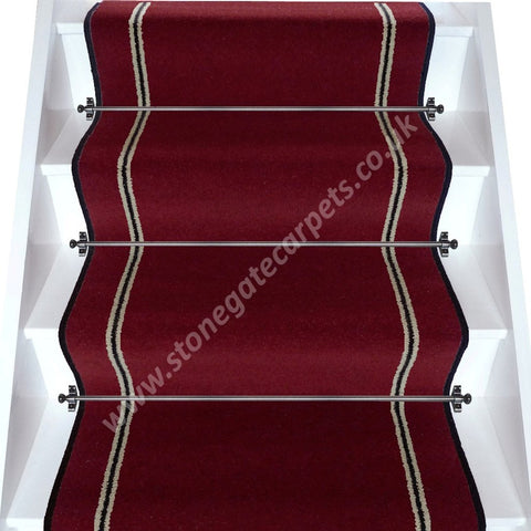 Brintons Carpets Bell Twist Ruby Humbug Stair Runner (per M)