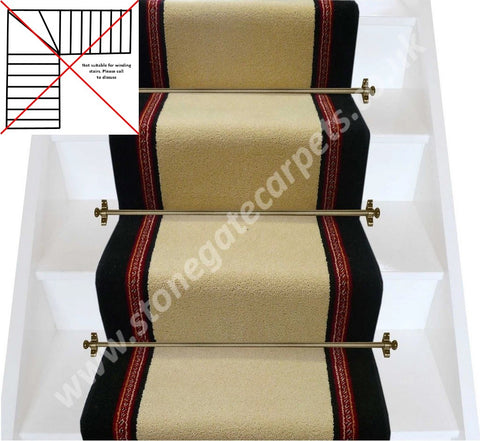 Brintons Carpets Bell Twist Sandstorm & New Ebony Red Insert Stair Runner (per M)
