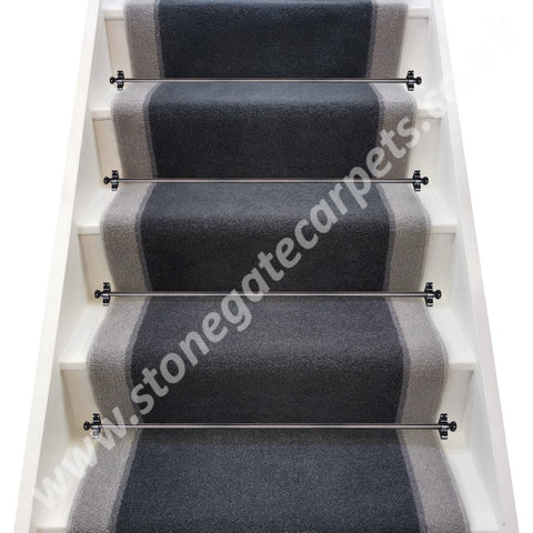 Brintons Carpets Bell Twist Slate, Flint & Laura Ashley Steel  Stair Runner (per M)