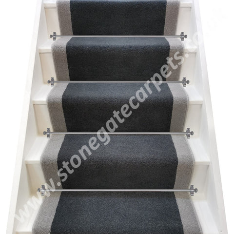 Brintons Carpets Bell Twist Slate & Laura Ashley Steel Stair Runner (per M)