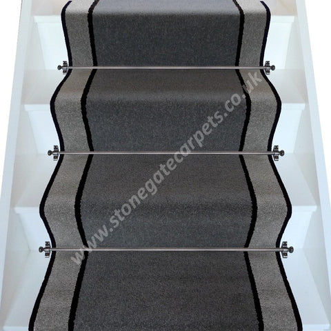 Brintons Carpets Bell Twist Smoke Ebony Pewter Stair Runner (per M)