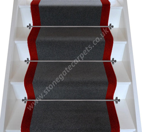 Brintons Carpets Bell Twist Smoke & Rothko Red Stair Runner (per M)