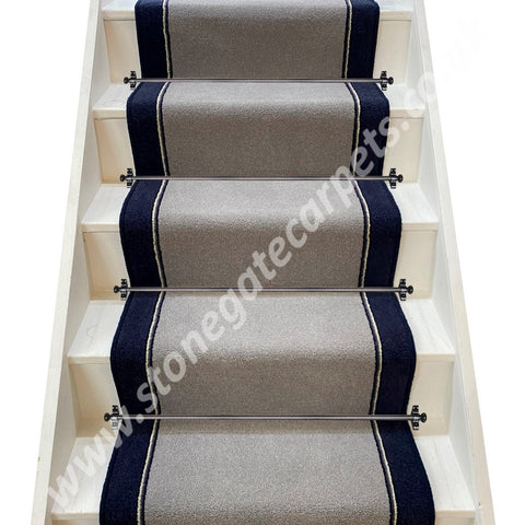 Brintons Carpets Bell Twist Steel, Twilight Train Insert & Atlantic Stair Runner (per M)