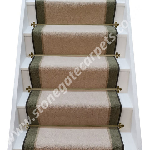 Brintons Bell Twist Yorkstone, Parchment & Celtic Green Stair Runner (per M)