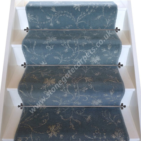 Brintons Carpets Classic Florals Parterre Blue Broadloom Stair Runner (per M)