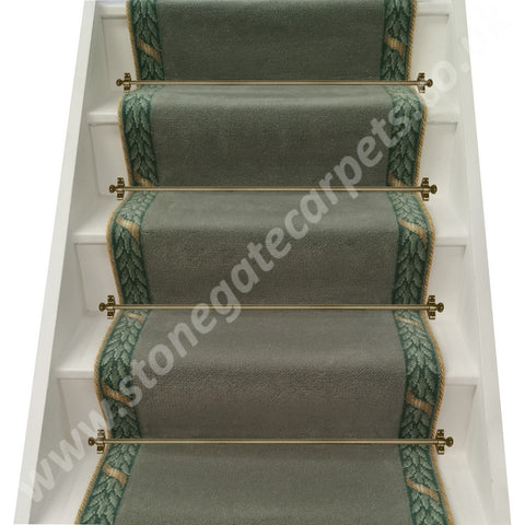 Brintons Carpets Finepoint Spearmint & Marquis Viscount Sage Border With Invicta Rope Stair Runner (per M)