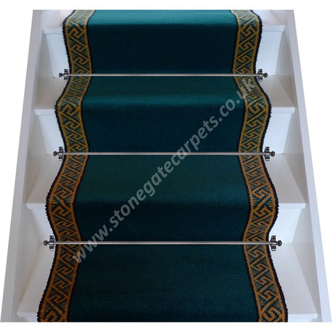 Brintons Carpets Galleria Petrol Border Stair Runner (per M)