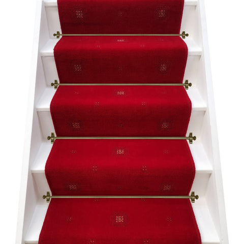 Brintons Carpets Ikon Brick Red Broadloom Stair Runner - (per M)