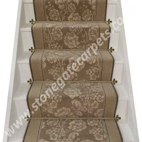 Brintons Carpets Laura Ashley St Germain, Retro Cord Insert & Bell Twist Parchment Stair Runner (per M)