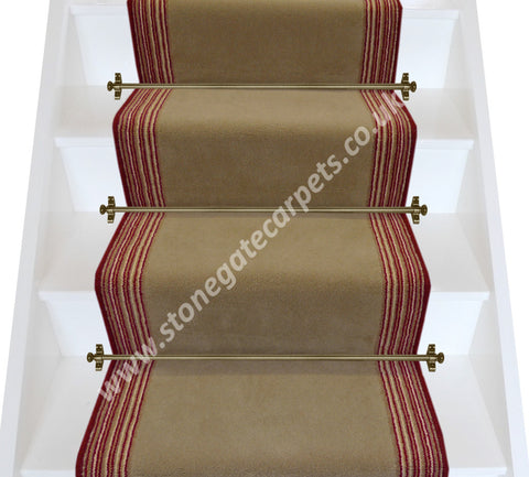 Brintons Carpets Majestic Mink Raspberry Candy Stripe Stair Runner (per M)